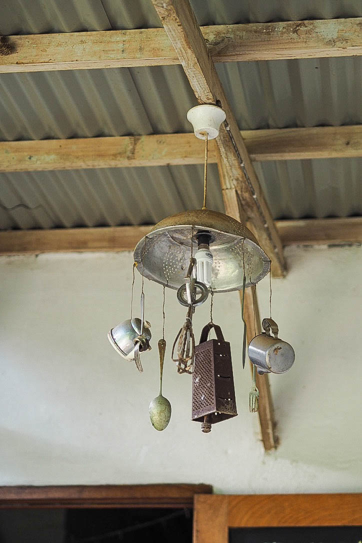 Light fixture made of kitchen tools