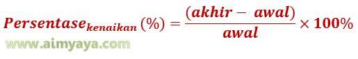 Gambar Rumus menghitung Persentase Kenaikan: Persentase (%) = (akhir – awal) / awal x 100%