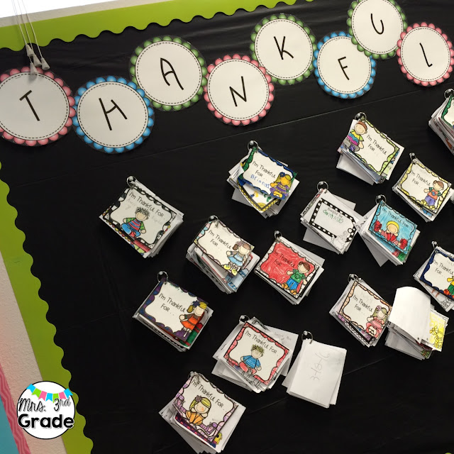 Our thankful board is one of my favorite parts of my room!  I love to see how it evolves and changes over the year as they reflect WEEKLY on what they are thankful for.