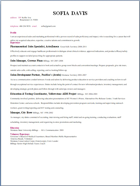 pharmaceutical sales specialist sample resume format in