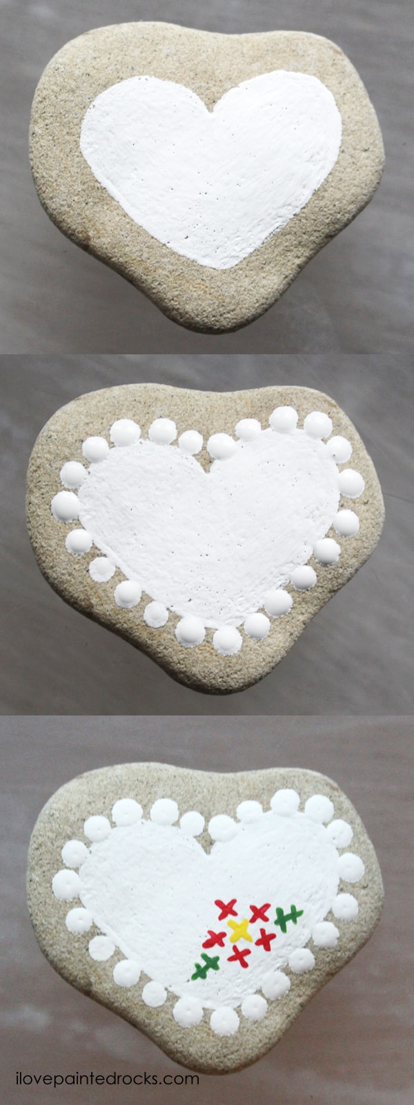 Easy rock painting ideas for Valentine's Day. I love all the painted rock tutorials in this post! Learn how to paint a heart that looks like it has been embroidered or cross stitched on a rock. #ilovepaintedrocks #rockpainting #paintedrocks #valentinescraft #easycraft #kidscraft #rockpaintingideas #crossstitch #embroidery