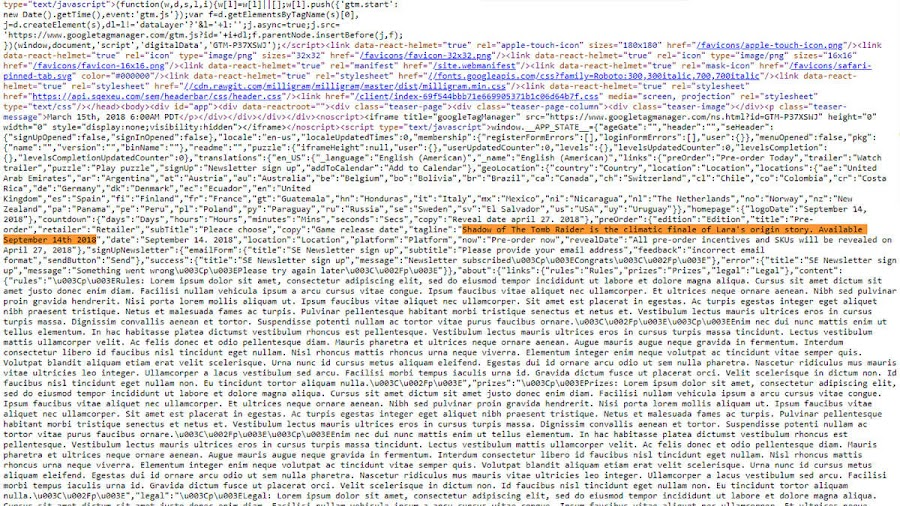shadow of the tomb raider html code reveal