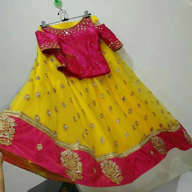 Yellow Pink Sequins Lehenga