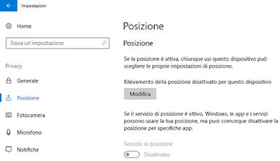 Disattivare rilevamento posizione Windows 10