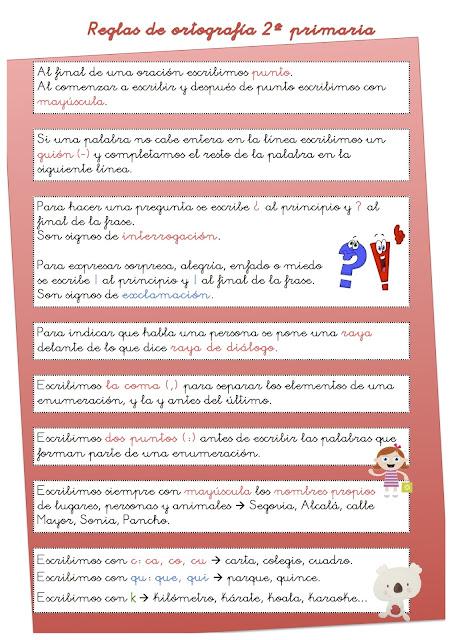 2º Primaria 11 12 Reglas De Ortografía 2º