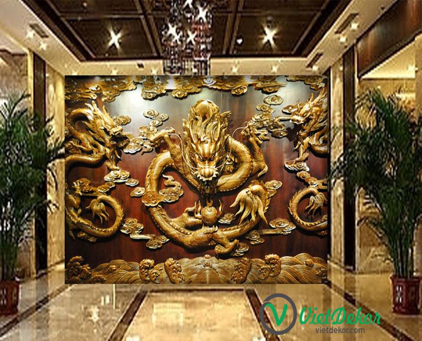 Tranh 3d dán tường rổng vàng điêu khắc