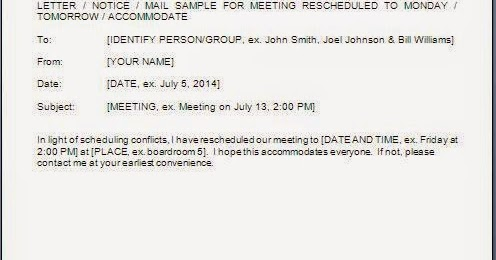 Meeting Postponed Email Format