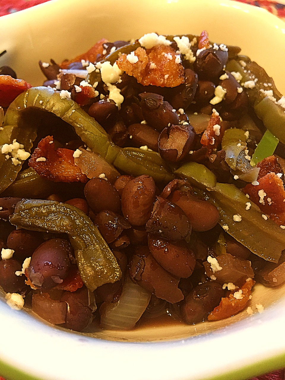 Black Beans with Nopal Cactus topped with Cotija cheese