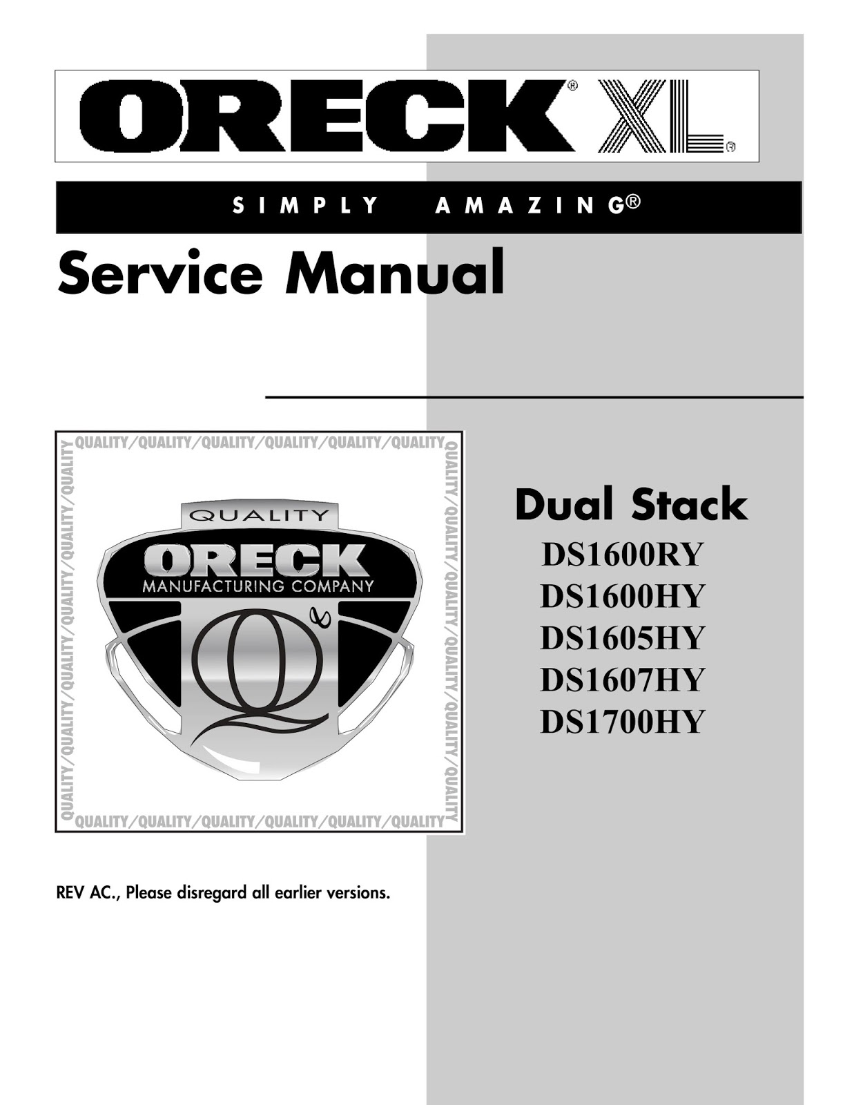 oreck dual stack service manual [ 1237 x 1600 Pixel ]