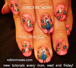 Nail Art By Robin Moses Peacock Nail Art Design Peacock Nails Pink Peacock Nails Pink