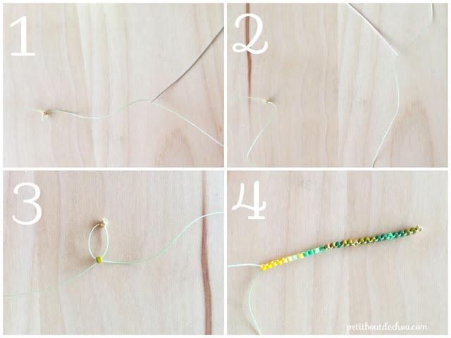 DIY Beaded ginko leaf in brick stitch first row