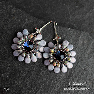 rivoli earrings with pip beads, kolczyki z rivoli i koralikami pip
