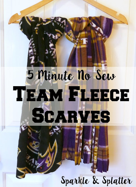 5 Minute No Sew Team Fleece Scarves!