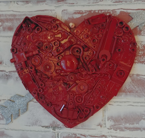Make a Valentine from old junk