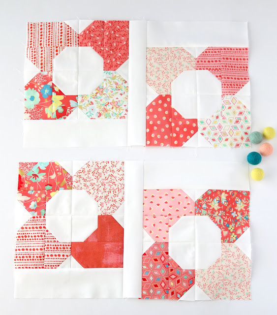 Just Blooming quilt blocks from the Charming Baby Quilts book by Melissa Corry - blocks found on A Bright Corner