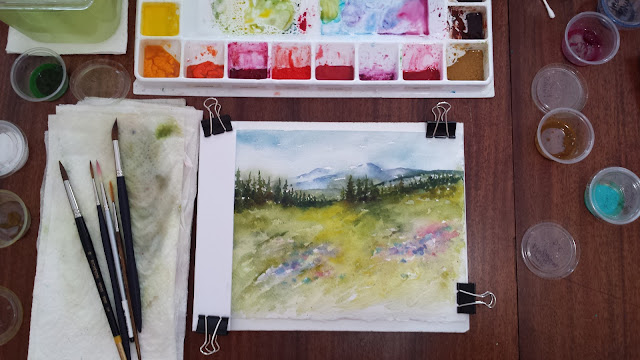 Mountain landscape on watercolor paper, later progress.