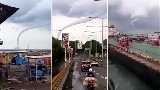 Video Angin Puting Beliung di Pantai Kejawanan Cirebon