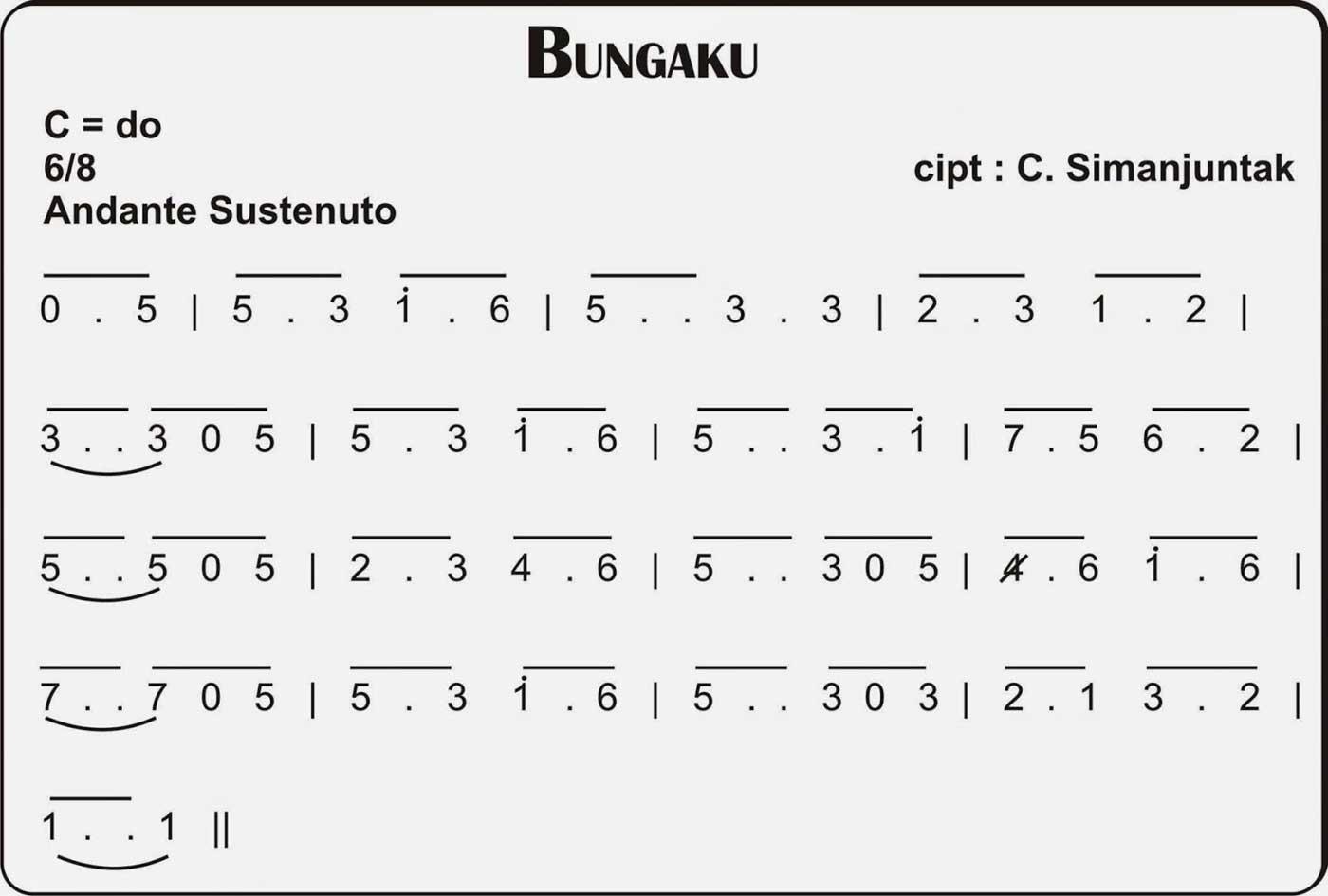 Lirik Lagu Nasional Bungaku Partitur Not Balok Tempo
