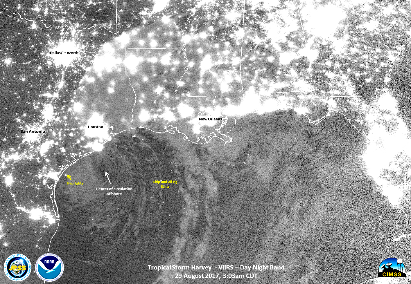 Map Southern Mexico%0A Image above  On Aug     at      a m  CDT the VIIRS instrument aboard  NASANOAA u    s Suomi NPP satellite captured a nighttime image of Harvey that  showed the