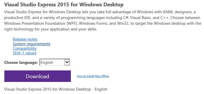 Hodentek: Install Visual Studio Express 2015 for Windows Desktop