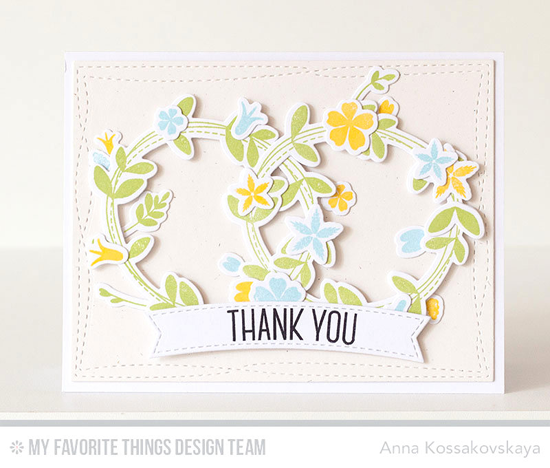 Spring Wreaths Thank You Card by Anna Kossakovskaya featuring the Lisa Johnson Designs Spring Wreath stamp set and Die-namics, and the Wonky Stitched Rectangle STAX and Blueprints 28 Die-namics #mftstamps