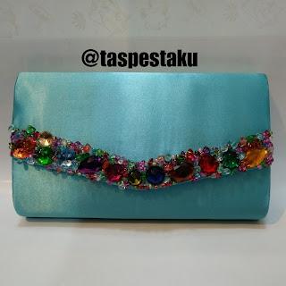 Tas Pesta Soft blue cantik dan mewah biru muda cerah