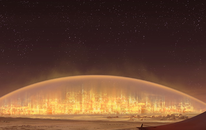 Mars city under a dome at night by Lorenz Hideyoshi Ruwwe
