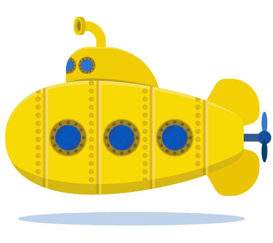 Submarino Amarillo infantil o de tipo crtoon