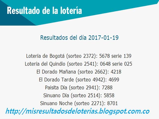 Loterias de Hoy | Resultados diarios de la Lotería y el Chance | Enero 19 2017