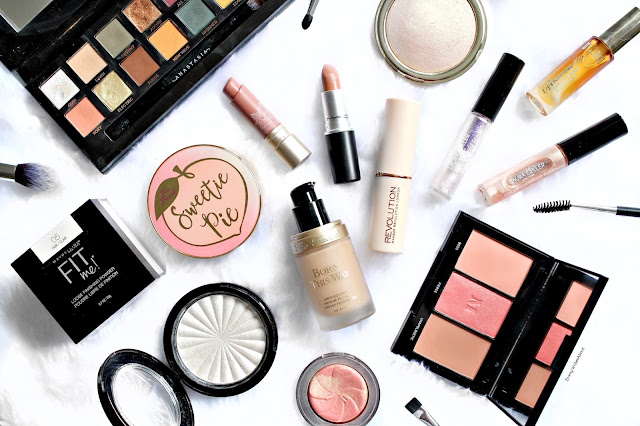 spring makeup flatlay, spring makeup must haves