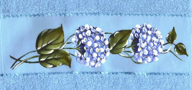 pintura em tecido toalha de banho flores hortênsias