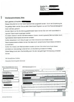 Scan: TEMABO BVBA Forderungsmanagement Kündigungsbestätigung | 25.05.2017