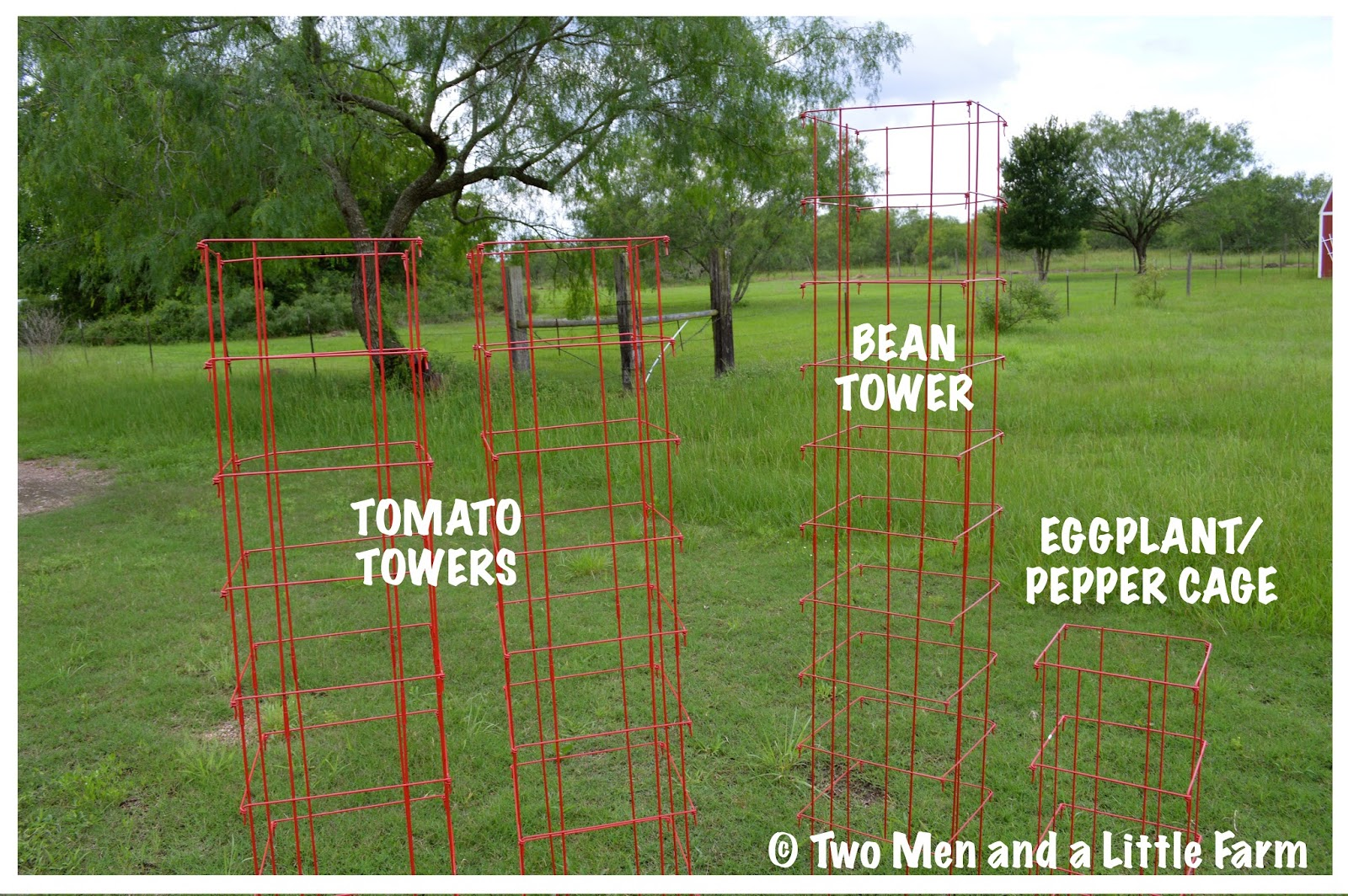 Two Men And A Little Farm RED GARDEN TRELLIS CAGES