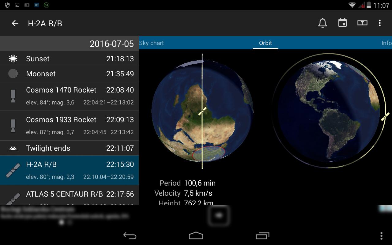 6. Szczegóły wybranego przelotu satelity - orbita z dwóch kolejnych płaszczyznach z wyszczególnioną strefą dnia i nocy orbitalnej