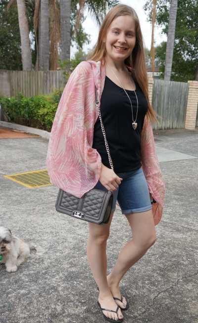 pink leaf print scarf worn as a kimono with black tank bermuda denim shorts outfit | awayfromtheblue