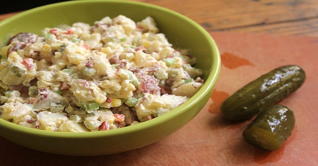 Potato Salad With Sweet Corn, Peppers & Pickles Recipe