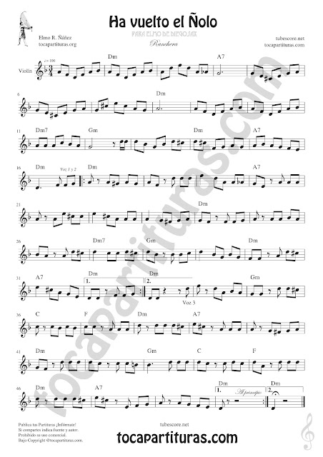 Violín Partitura de Ha vuelto el Ñolo Sheet Music for Violin Music Scores