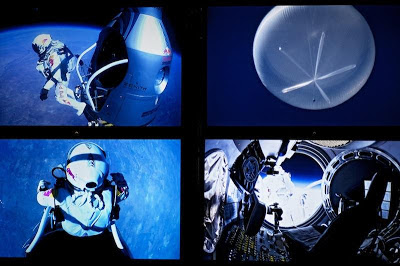 Screens at the mission control shows Pilot Felix Baumgartner of Austria jump during the final manned flight for Red Bull Stratos in Roswell, New Mexico, USA on October 14, 2012.
