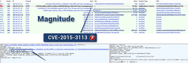 Magnitude and Angler EK exploit kit.