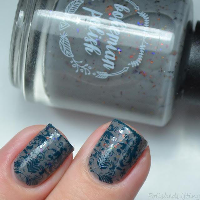 damask print nail art