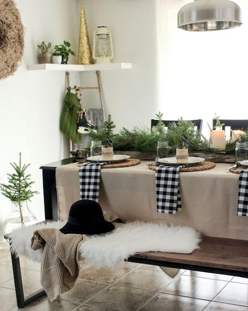 mesas de natal preto e branco