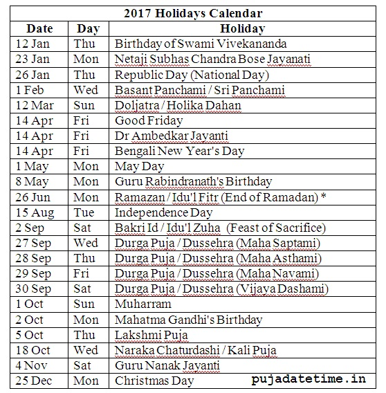 calendar 2017 list of holidays india - Calendar