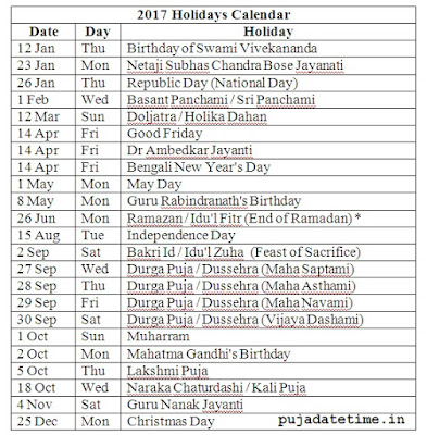 2017 List of Holiday of West Bengal in India