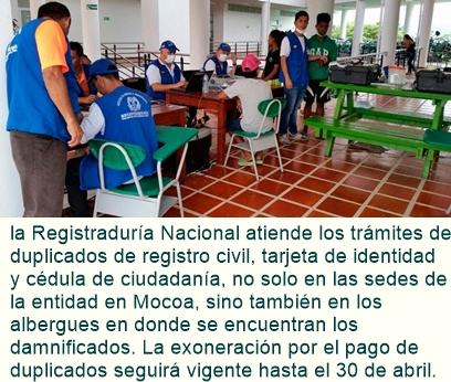Registraduría refuerza trabajo en Mocoa apoyando a damnificados.