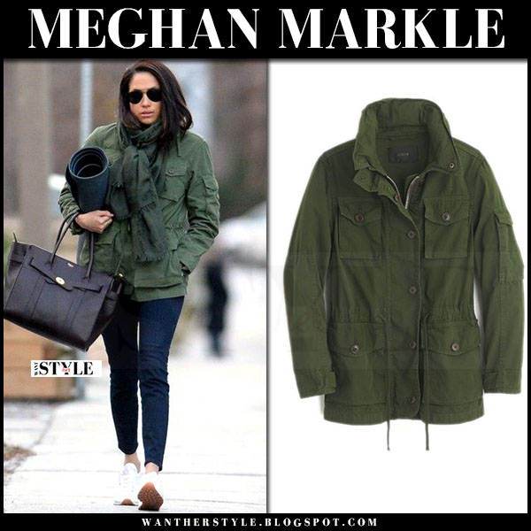 Meghan Markle in green canvas jacket j.crew field, blue pants and white sneakers reebok what she wore