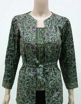 Baju Batik Kerja Muslimah Lengan Panjang