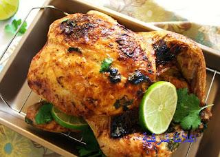 طريقة عمل الدجاج بالزعتر والسمسم