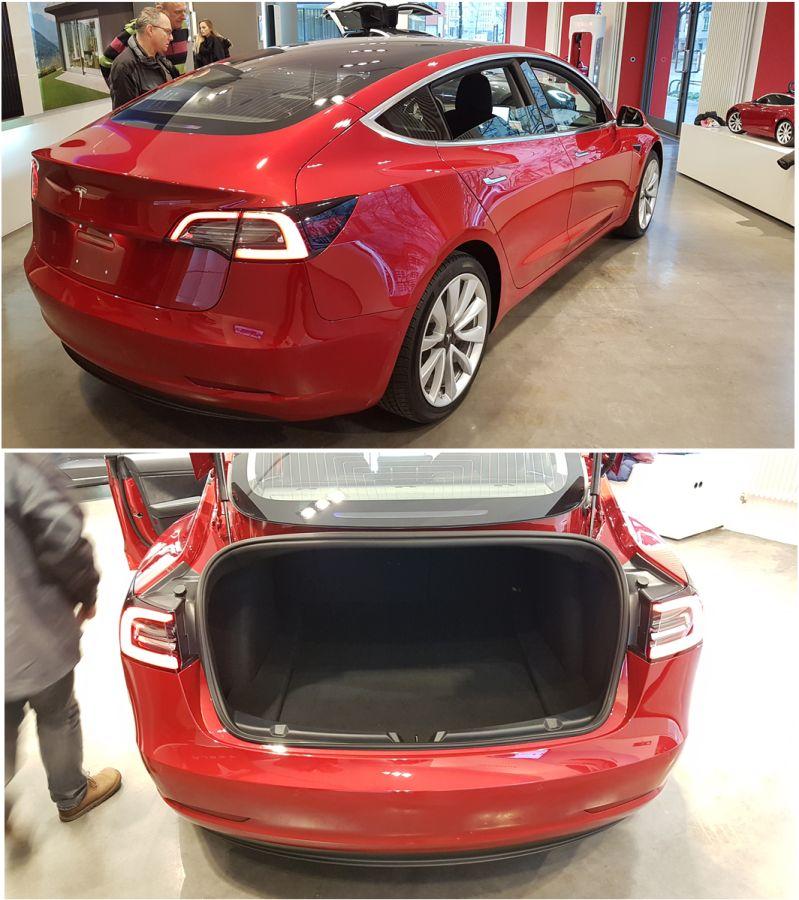 Tesla Model 3 Heck und Beifahrerseite