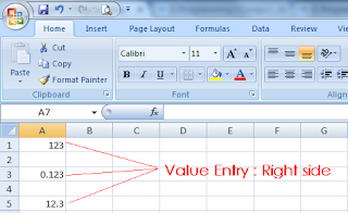 MS-Excel Value entry - Right side align