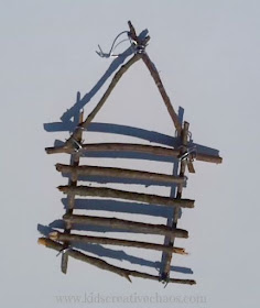 How to make a twig log cabin ornament decoration with children.